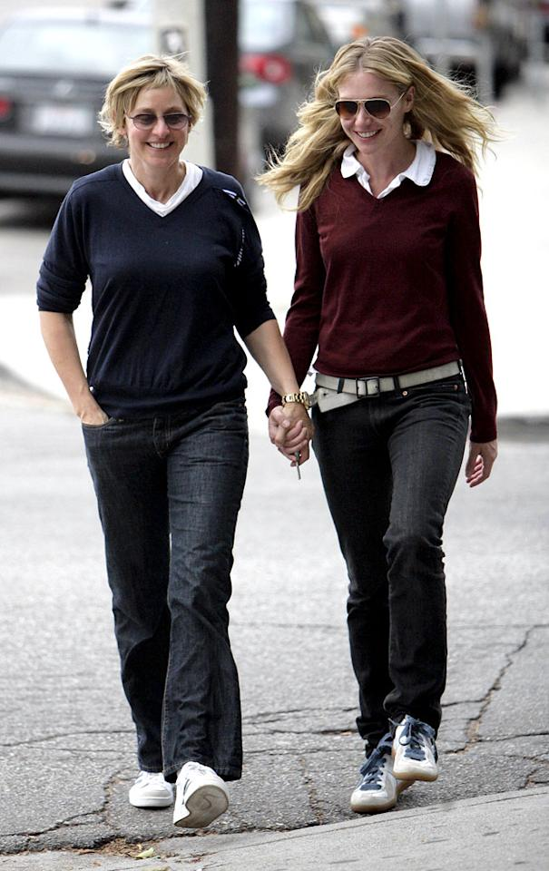 "Ellen DeGeneres and girlfriend Portia de Rossi almost look like twins. <a href=""http://www.x17online.com"" target=""new"">X17 Online</a> - September 26, 2006"