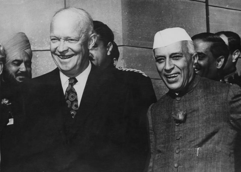 US President Dwight D. Eisenhower with Indian Prime Minister Jawaharlal Nehru at the Rashtrapati Bhavan in New Delhi, during Eisenhower's Goodwill Tour, Dec. 14, 1959. | Keystone/Hulton Archive/Getty Images