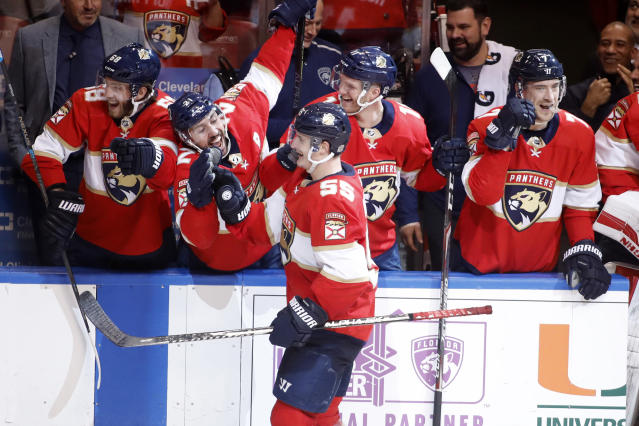 Florida Panthers' Noel Acciari (55) celebrates with teammates after scoring a goal on a penalty shot during the second period of an NHL hockey game against the Dallas Stars, Friday, Dec. 20, 2019, in Sunrise, Fla. (AP Photo/Luis M. Alvarez)