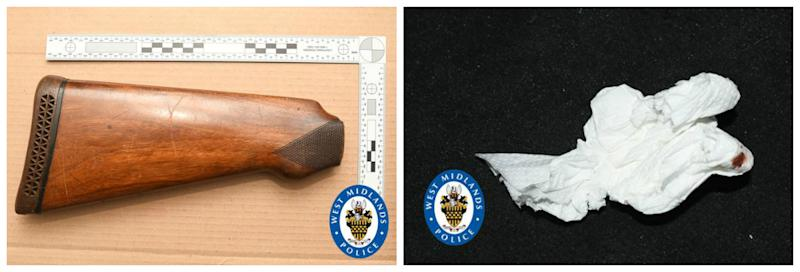 The shotgun butt, left, found at Blake's home and a tissue, right, which had his DNA on. (West Midlands Police)