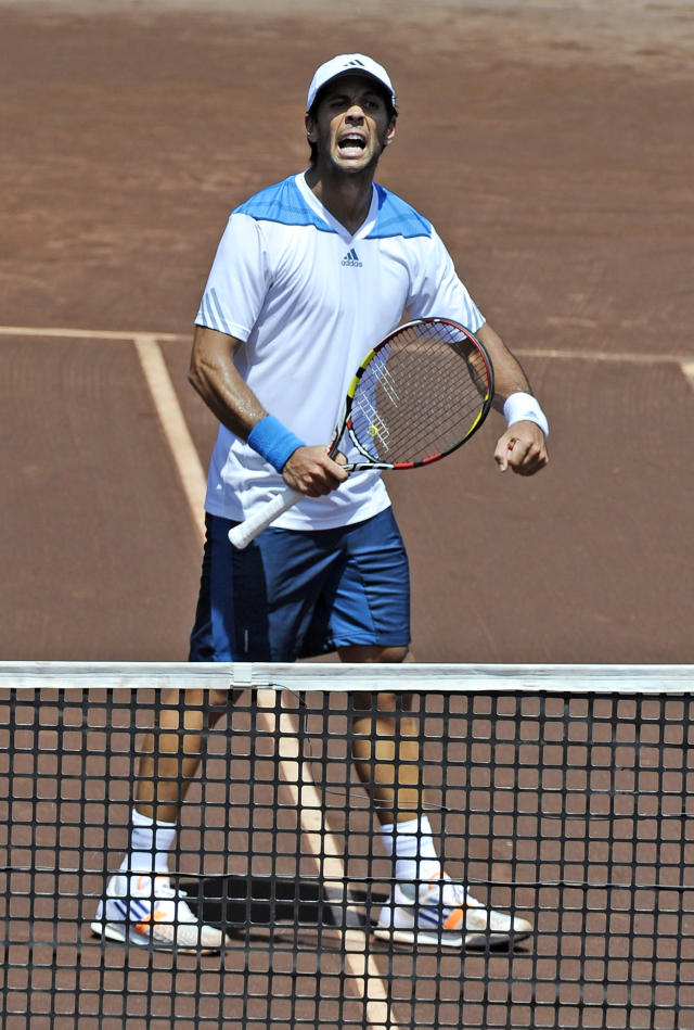 Fernando Verdasco, of Spain, celebrates after beating Donald Young in two sets in the quarterfinals of the U.S. Men's Clay Court Championship Friday, April 11, 2014, in Houston. Verdasco won 7-6, 6-1 to advance to the semifinals. (AP Photo/Pat Sullivan)