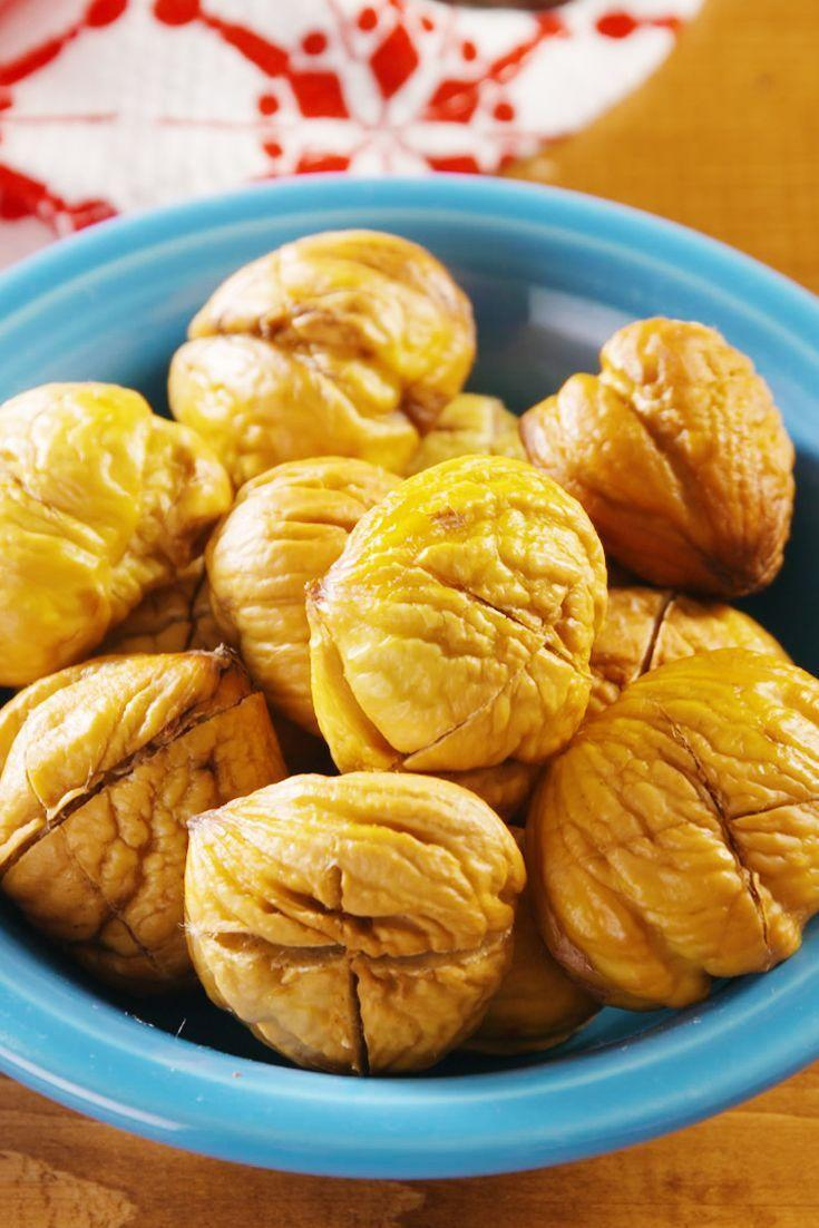 """<p>We love the way roasted chestnuts taste straight out of the oven! If you want to get fancy, though, there are plenty of options. Try tossing the peeled nuts with butter and your favourite herbs and spices: rosemary and salt for savoury, nutmeg and sugar for sweet.</p><p>Get the <a href=""""https://www.delish.com/uk/cooking/recipes/a30543125/how-to-roast-chestnuts/"""" rel=""""nofollow noopener"""" target=""""_blank"""" data-ylk=""""slk:Roasted Chestnuts"""" class=""""link rapid-noclick-resp"""">Roasted Chestnuts</a> recipe.</p>"""