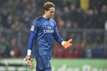 HSV Hamburg v Borussia Dortmund -  German Bundesliga - Volksparkstadion, Hamburg, Germany - 5/11/16 - HSV Hamburg goalkeeper Rene Adler reacts following match against Borussia Dortmund.   REUTERS/Fabian Bimmer
