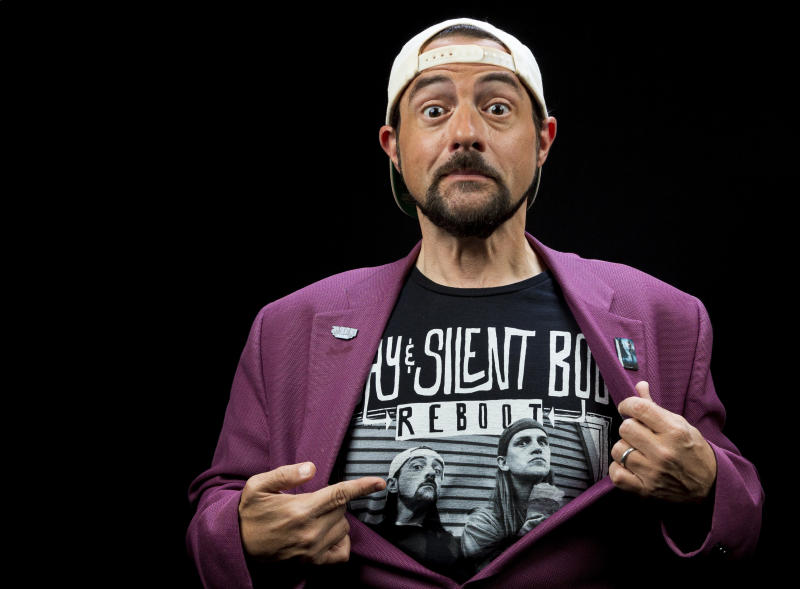 "This Sept. 25, 2019 photo shows Kevin Smith posing during an interview in Los Angeles to promote the film ""Jay and Silent Bob Reboot."" (Photo by Willy Sanjuan/Invision/AP)"
