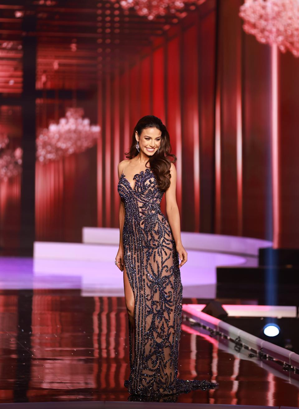 <p>Julia Gama, Miss Universe Brazil 2020 competes on stage as a Top 10 finalist in an evening gown of her choice during the 69th Miss Universe Competition on May 16, 2021 at the Seminole Hard Rock Hotel & Casino in Hollywood, Florida airing LIVE on FYI and Telemundo. Contestants from around the globe have spent the last few weeks touring, filming, rehearsing and preparing to compete for the Miss Universe crown. (PHOTO: Miss Universe)</p>