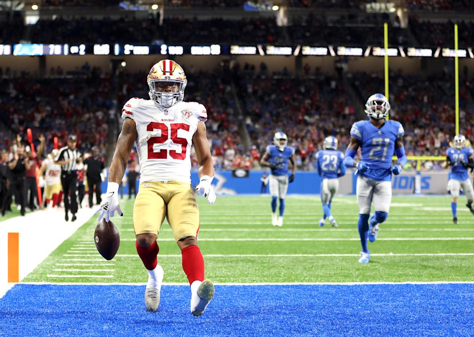 San Francisco 49ers sixth-round running back Elijah Mitchell had a spectacular debut against the Detroit Lions. (Photo by Gregory Shamus/Getty Images)