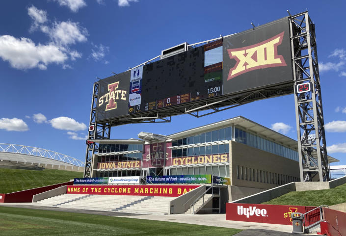 """The North end zone scoreboard is shown at Jack Trice Stadium, Wednesday, Sept. 7, 2021, in Ames, Iowa. No. 9 Iowa State is preparing to play what is undeniably the biggest home game in the 129-year history of the program. The top-10 matchup with rival Iowa on Saturday drew ESPN's popular pregame show, """"College GameDay."""" (AP Photo/Ralph Russo)"""