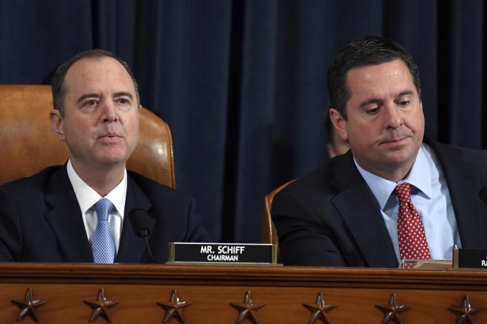 House Intelligence Committee Chairman Adam Schiff, D-Calif., left, and Rep. Devin Nunes, R-Calif., the ranking member on the committee. (Photo: Susan Walsh/AP)