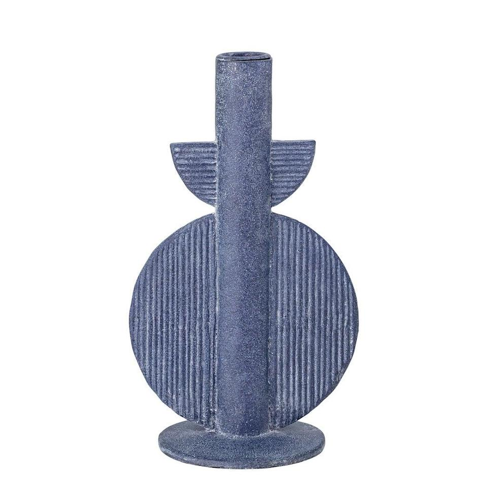 A blue geometric candle, £22, from Spicer and Wood (Handout)