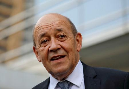 FILE PHOTO: French Foreign Minister Jean-Yves Le Drian attends the ceremony of the 2nd Indo-French Professional Meetings for the Film and Television Industry, in Mumbai, India, December 14, 2018. REUTERS/Danish Siddiqui/File Photo