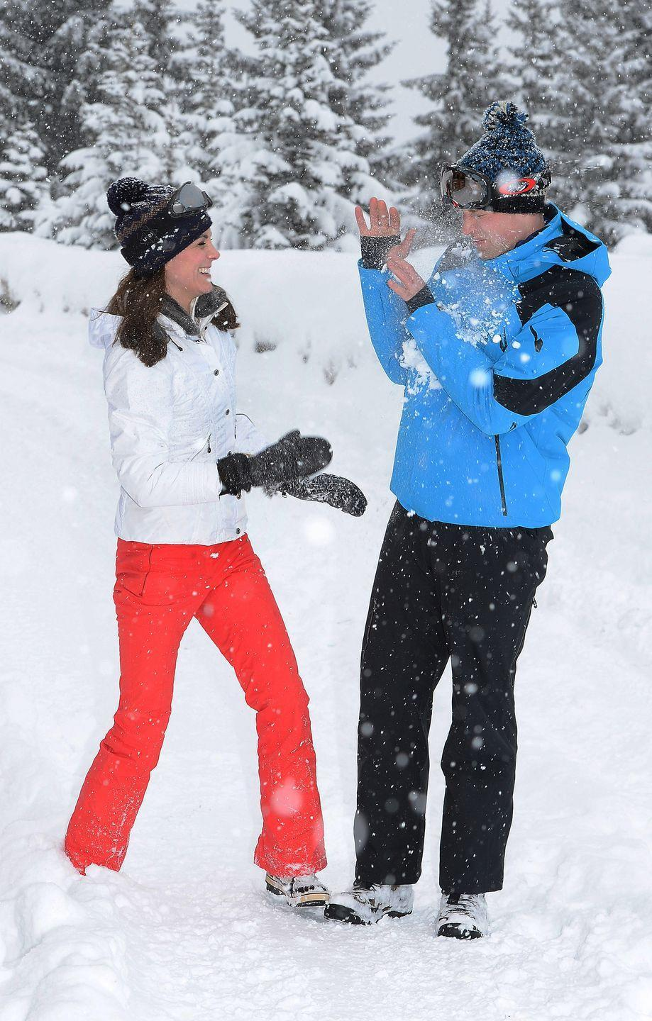 <p>The couple had a private skiing break in the French Alps and were photographed frolicking around in the snow, March 2016.</p>