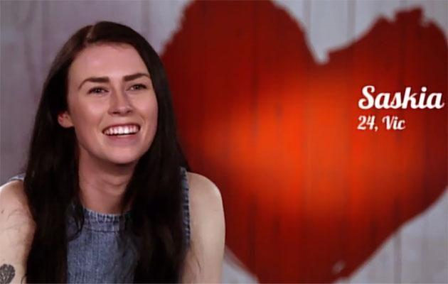 During her one-on-one Saskia told the cameras she's attracted to feminine girls. Source: Channel Seven
