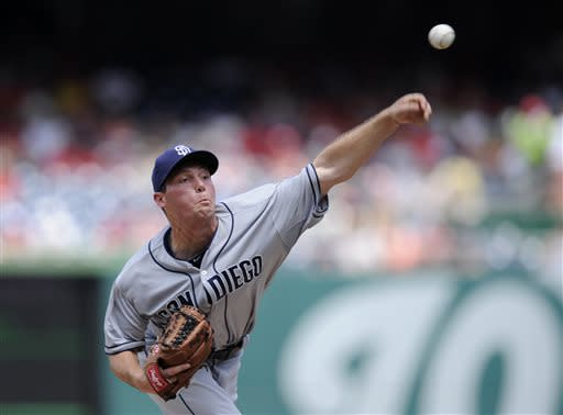 San Diego Padres starting pitcher Robbie Erlin delivers against the Washington Nationals during the first inning of a baseball game on Sunday, July 7, 2013, in Washington. (AP Photo/Nick Wass)