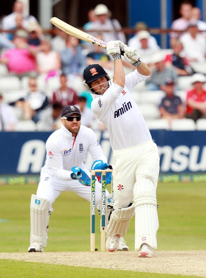 Essex Batsman Ben Foakes hits out during day two of the International Warm up match at The County Ground, Chelmsford.