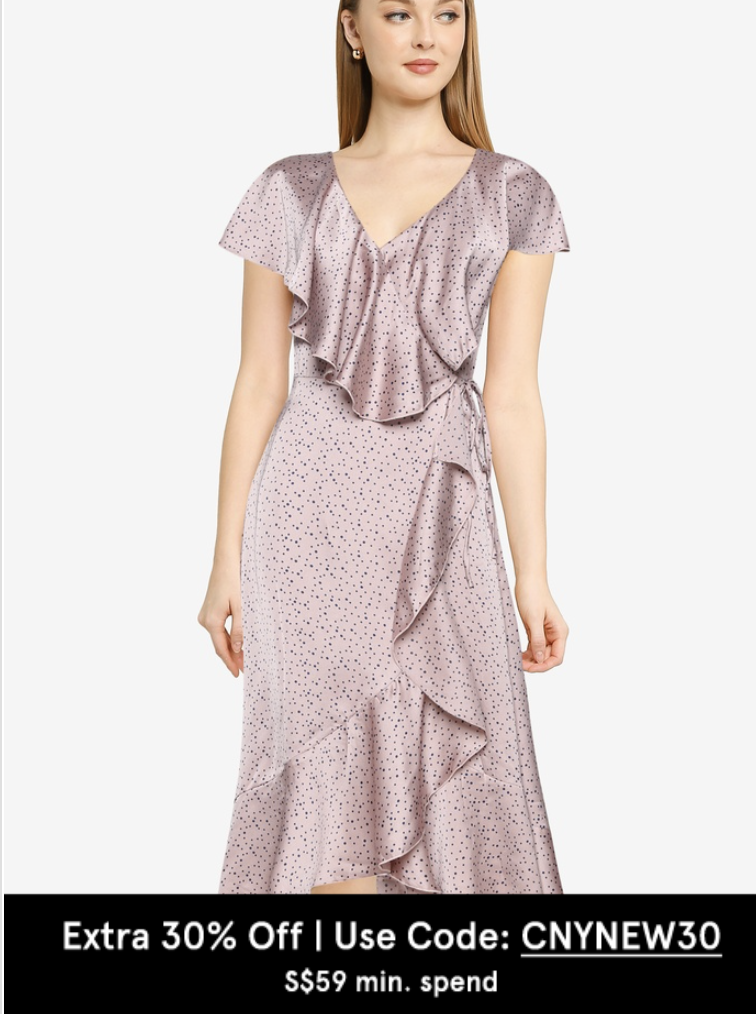 PHOTO: Zalora. Missguided Polka Dot Satin Ruffle Tea Dress