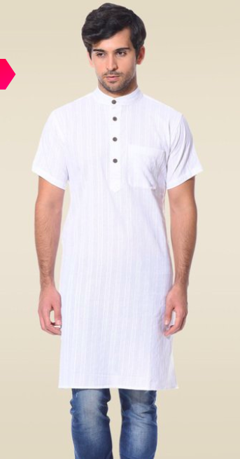 "<a href=""https://fave.co/2P64Eg9"" rel=""nofollow noopener"" target=""_blank"" data-ylk=""slk:BUY HERE"" class=""link rapid-noclick-resp"">BUY HERE</a> White Jacquard kurta with Mandarin collar and buttons and a pocket, by Abhiyuthan from Tata Cliq, for a discounted price of <strong>Rs. 783</strong>"