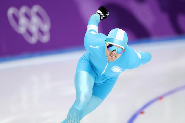 <p>Fedor Mezentsev of Kazakhstan competes during the Men's 1500m Speed Skating on day four of the PyeongChang 2018 Winter Olympic Games at Gangneung Oval on February 13, 2018 in Gangneung, South Korea. (Photo by Maddie Meyer/Getty Images) </p>