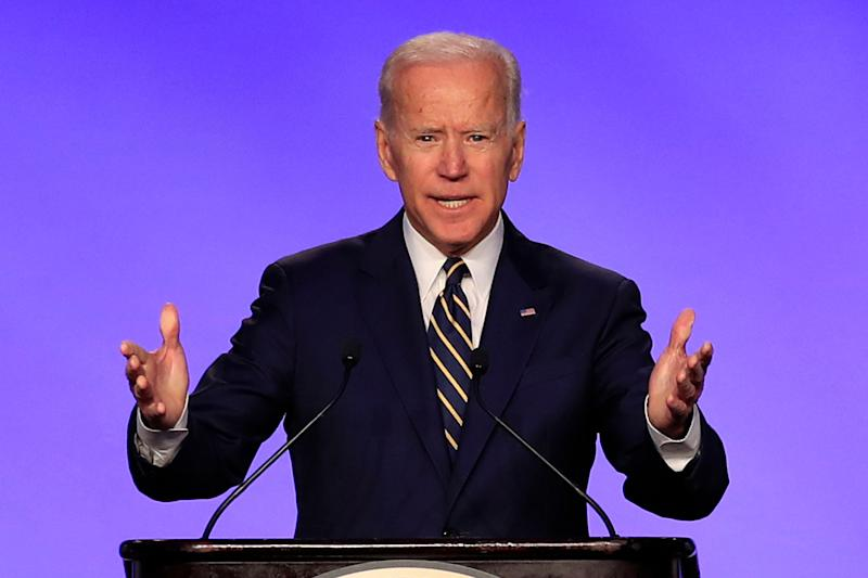 Former Vice President Joe Biden speaks at the International Brotherhood of Electrical Workers construction and maintenance conference in Washington, Friday, April 5, 2019. (Photo: Manuel Balce Ceneta/AP)