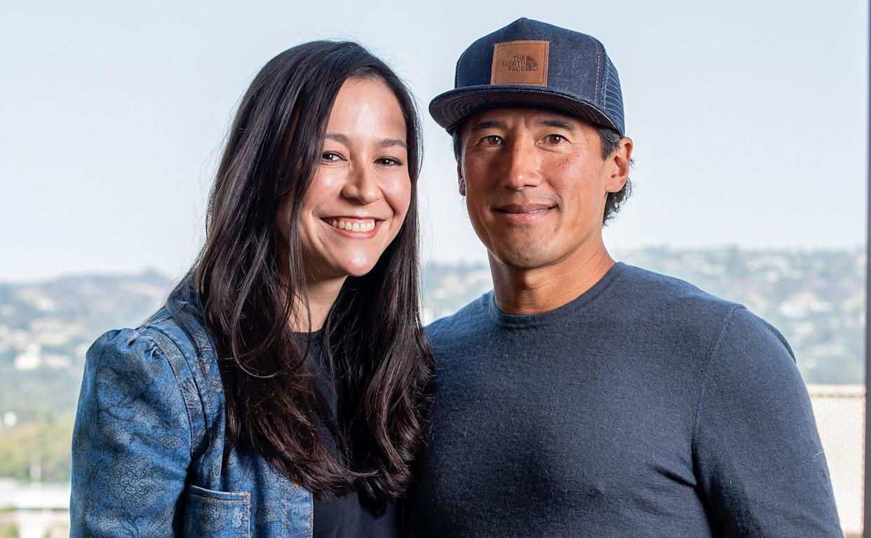 Filmmakers Chai Vasarhelyi (L) and Jimmy Chin pose during the press day for their new documentary