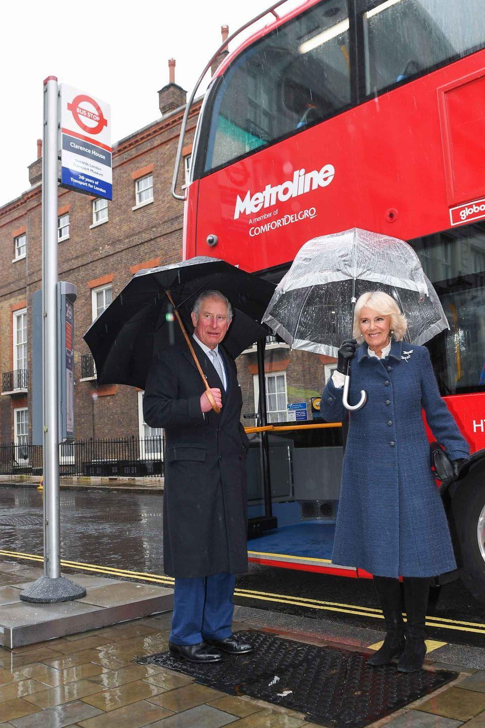 <p>Prince Charles and Duchess Camilla prepare to board a new electric double decker bus at Clarence House.</p>