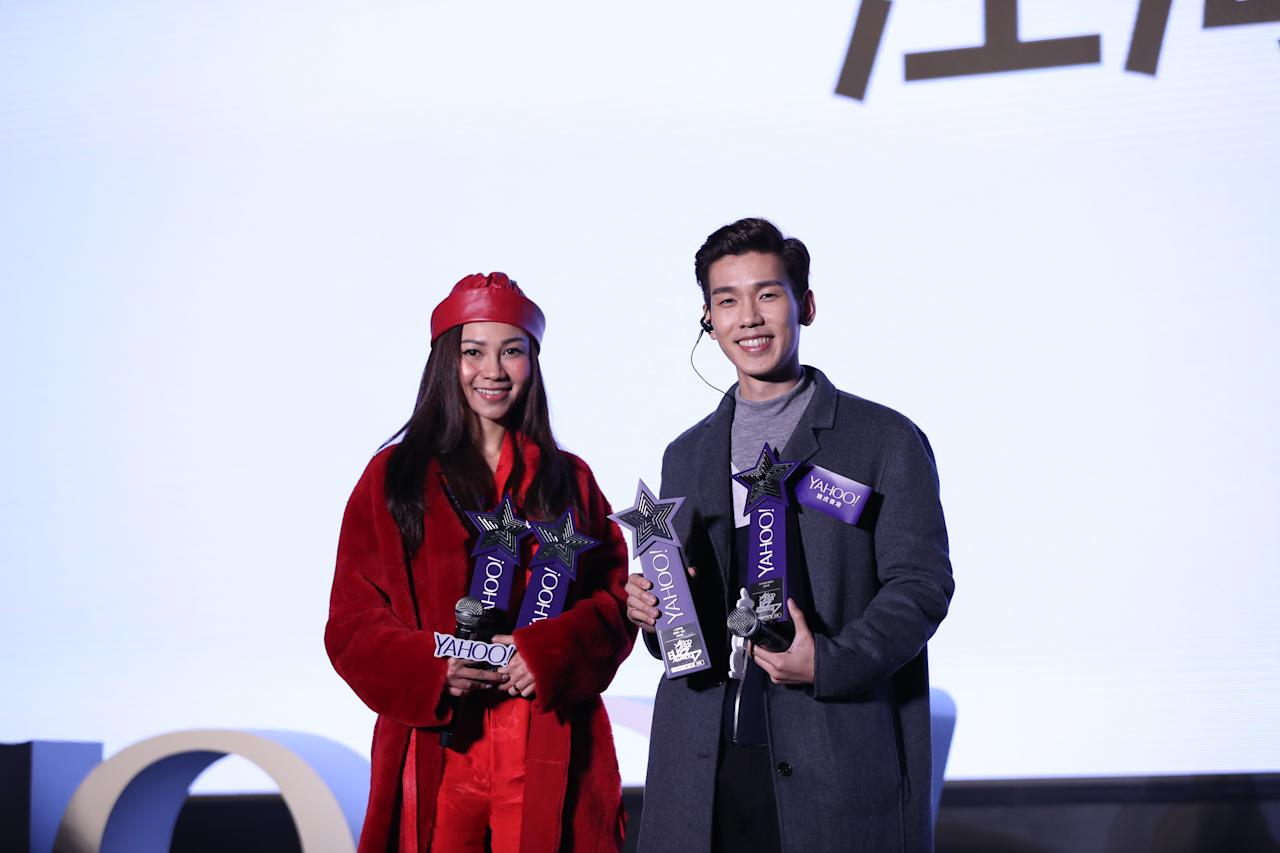 <p>Winners of Top Buzz Song and Top Buzz Female and Male Singer-songwriters AGA and Phil Lam at the Yahoo Asia Buzz Awards 2017 in Hong Kong on Wednesday (6 December).</p>