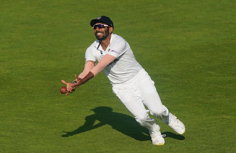 India's Jasprit Bumrah drops a potential catch during day six of the ICC World Test Championship Final match at The Ageas Bowl, Southampton. Picture date: Wednesday June 23, 2021. (Photo by Adam Davy/PA Images via Getty Images)