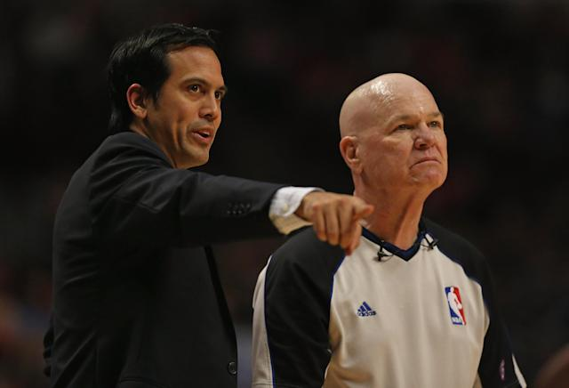 CHICAGO, IL - MAY 10: Head coach Erik Spoelstra of the Miami Heat argues a point to referee Joey Crawford #17 as the Heat take on the Chicago Bulls in Game Three of the Eastern Conference Semifinals during the 2013 NBA Playoffs at the United Center on May 10, 2013 in Chicago, Illinois. NOTE TO USER: User expressly acknowledges and agrees that, by downloading and or using this photograph, User is consenting to the terms and conditions of the Getty Images License Agreement. (Photo by Jonathan Daniel/Getty Images)