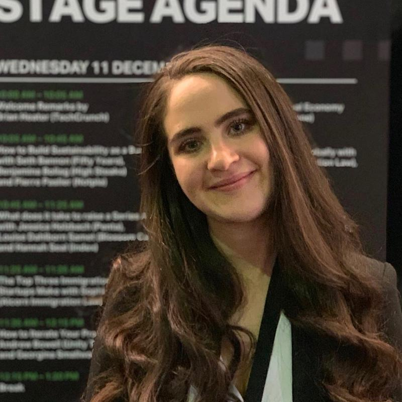 HigherSteaks co-founder and CEO Benjamina Bollag pictured at Techcrunch Disrupt Berlin, 11 December, 2019. Credit: Benjamina Bollag