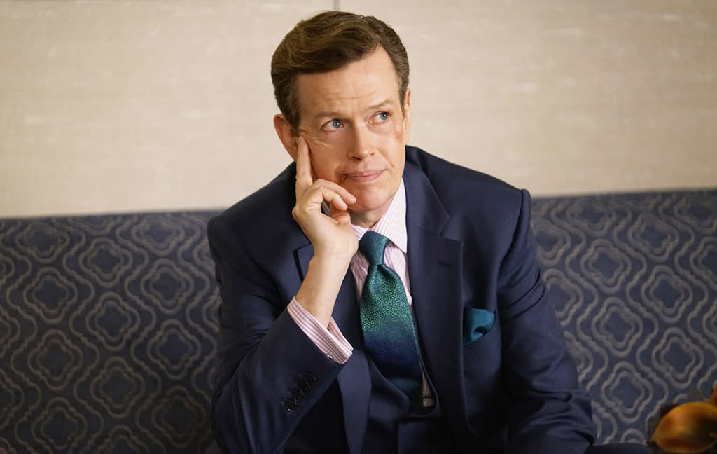 """<p><strong>Where You've Been Watching Him:</strong> <strong>NBC's <em>Blindspot</em>, CBS All Access's <em>The Good Fight</em></strong><br /> What do <em>Oz</em>, <em>Smash</em>, and <em>The Good Wife</em> have in common? They've all been graced by the presence of human chameleon Dylan Baker, an actor with a familiar face and an exceptional variety of roles. His versatility complements any genre and/or era, from the '80s spy shenanigans of <em>The Americans</em> to the treacherous New York legal world of <em>Damages</em> to the alternate reality glimpsed in <em>Kings</em>. The setting may change, but Baker's skill remains the same. —<em>Ethan Alter</em><br /><strong><a rel=""""nofollow"""" href=""""https://www.yahoo.com/tv/dylan-baker-becky-ann-baker-became-mr-mrs-character-actor-140058352.html"""">Read our Q&A with Dylan and his equally talented wife, Becky Ann Baker (<em>Girls</em>).</a></strong><br /> (Photo: CBS) </p>"""