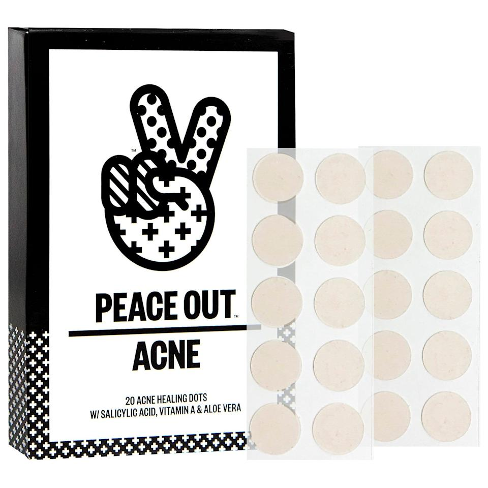"""<p>""""I love acne or pimple patches, like the <span>Peace Out Skincare Acne Healing Dots </span> ($19). Pimple patches are essentially flesh-colored hydrocolloid bandages that are cut in the shape of circles so they cover pimples. Hydrocolloid is often used in wound healing because it draws moisture out of wounds and can stick to both dry and wet sites. I ask patients to <em>very</em> gently prick the pimple with a clean pin once, then apply the patch on top. It's great because it draws out the contents and, sometimes more importantly, keeps the patient from picking at it. Icing the area after taking off the pimple patch also helps to calm it down further (and if you don't have a pimple patch on hand, icing helps, too)."""" - dermatologist <a href=""""http://instagram.com/paprisarkar.md"""" class=""""link rapid-noclick-resp"""" rel=""""nofollow noopener"""" target=""""_blank"""" data-ylk=""""slk:Papri Sarkar"""">Papri Sarkar</a>, MD</p>"""