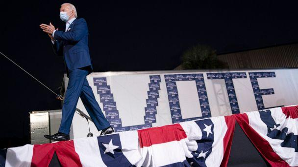 PHOTO: Democratic presidential nominee Joe Biden arrives for a drive-in campaign rally at the Florida State Fairgrounds in Tampa, Fla., Oct. 29, 2020.  (Drew Angerer/Getty Images)
