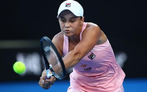 <span>Barty struggling with the power of Kvitova</span> <span>Credit: Getty Images </span>