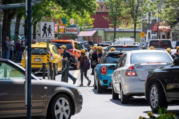 Cars often end up in gridlock on Vancouver's Granville Island.