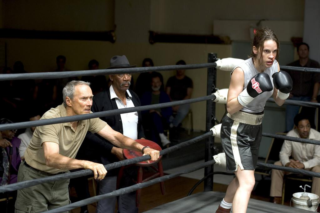 """<a href=""""http://movies.yahoo.com/movie/1808600393/info"""">Million Dollar Baby</a> (2004), starring <a href=""""http://movies.yahoo.com/movie/contributor/1800020739"""">Hilary Swank</a> as a boxer and Eastwood as her reluctant trainer: It appealed to me because it was a story regarding family -- a search for the daughter he never had a relationship with, and the search for the father that was no longer there for her. They were both sort of reticent, and ended up putting themselves through the most emotional test possible, ending with her desire to be euthanized."""