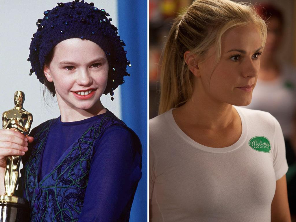 "<strong>Anna Paquin</strong><br /><br /> Won For: Playing Holly Hunter's daughter Flora in 1993's ""The Piano,"" at the tender age of 11.<br /><br /> Now She Plays: Psychic fairy waitress Sookie Stackhouse on HBO's sex-soaked vampire drama ""True Blood."""
