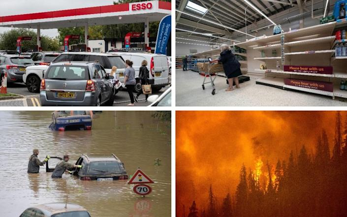Britain's fuel and food shortage crises, alongside flooding in Germany and wildfires in places such as the US, have compelled officials to reassess risk preparation strategies - Chris J Ratcliffe/Getty Images/Jon Super/Xinhua/Sebastien Bozon/AFP via Getty Images/AP Photo/Noah Berger