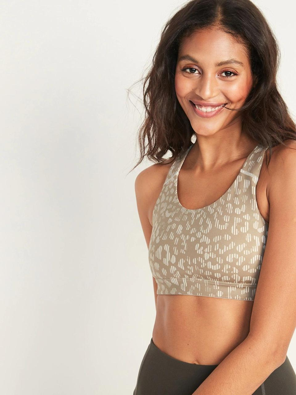 <p>This <span>Old Navy Medium Support Strappy Sports Bra</span> ($12, originally $23) is the perfect option for almost any type of workout.</p>