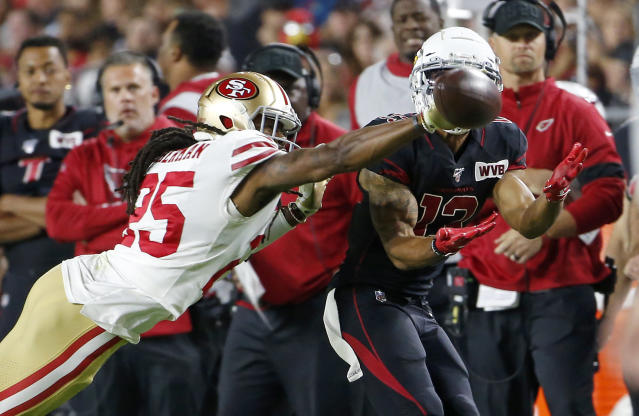 49ers cornerback Richard Sherman of the San Francisco 49ers breaks up a pass on Thursday night. (Getty Images)