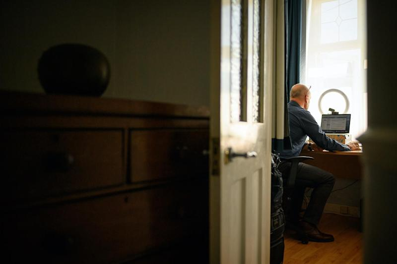 Crisis Volunteer David Whiting sits in his office, where he usually responds to texters for the crisis text service Shout 85258 on June 01, 2020 at his home in the Sidcup area of London, United Kingdom: Leon Neal/Getty Images
