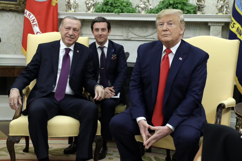President Donald Trump and Turkish President Recep Tayyip Erdogan meet in the Oval Office of the White House, Wednesday, Nov. 13, 2019, in Washington. (AP Photo/ Evan Vucci)