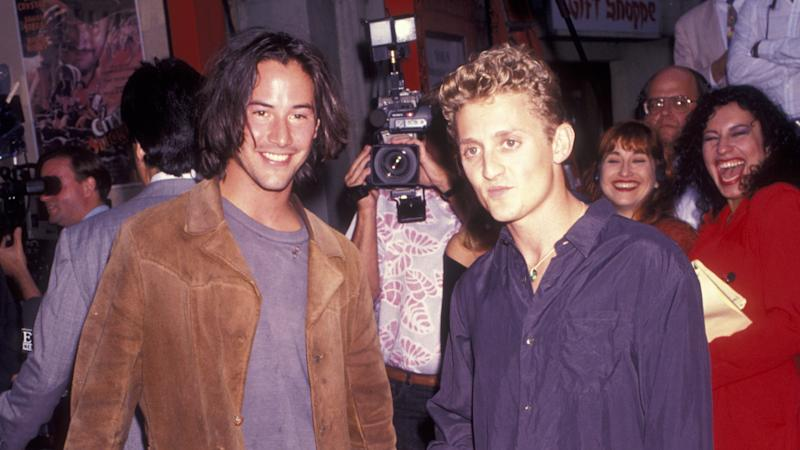 "Alex Winter and Keanu Reeves attend the premiere of ""Bill and Ted's Bogus Journey"" on July 18, 1991 at the Mann Chinese Theater in Hollywood, California, California. (Photo by Ron Galella/Ron Galella Collection via Getty Images)"