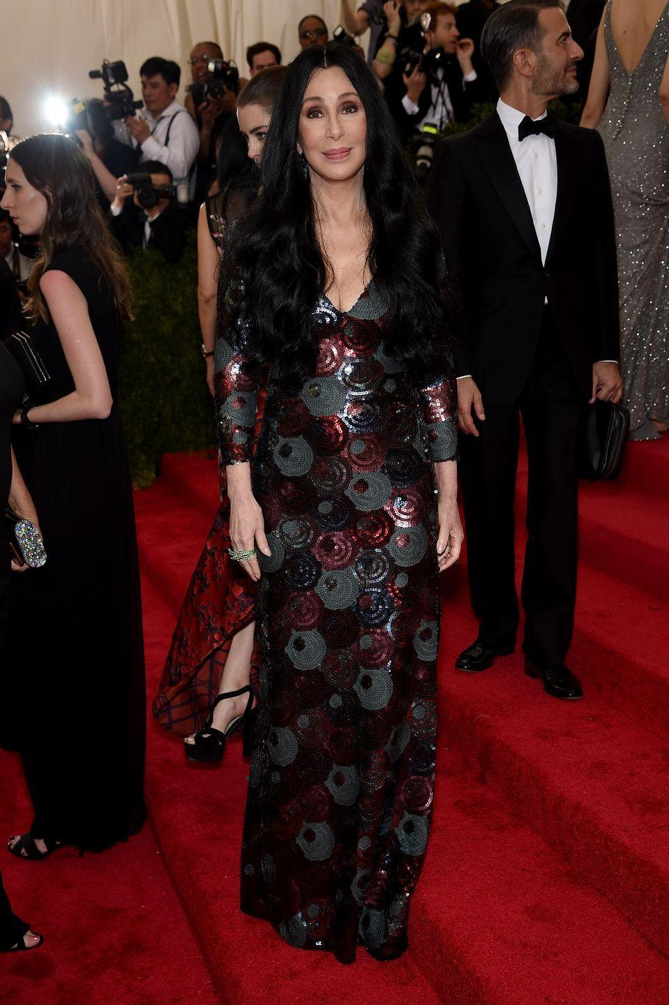 <p>For her first Met Gala appearance in nearly 20 years, Cher attended with Marc Jacobs in a sparkling full-length gown by the designer. </p>