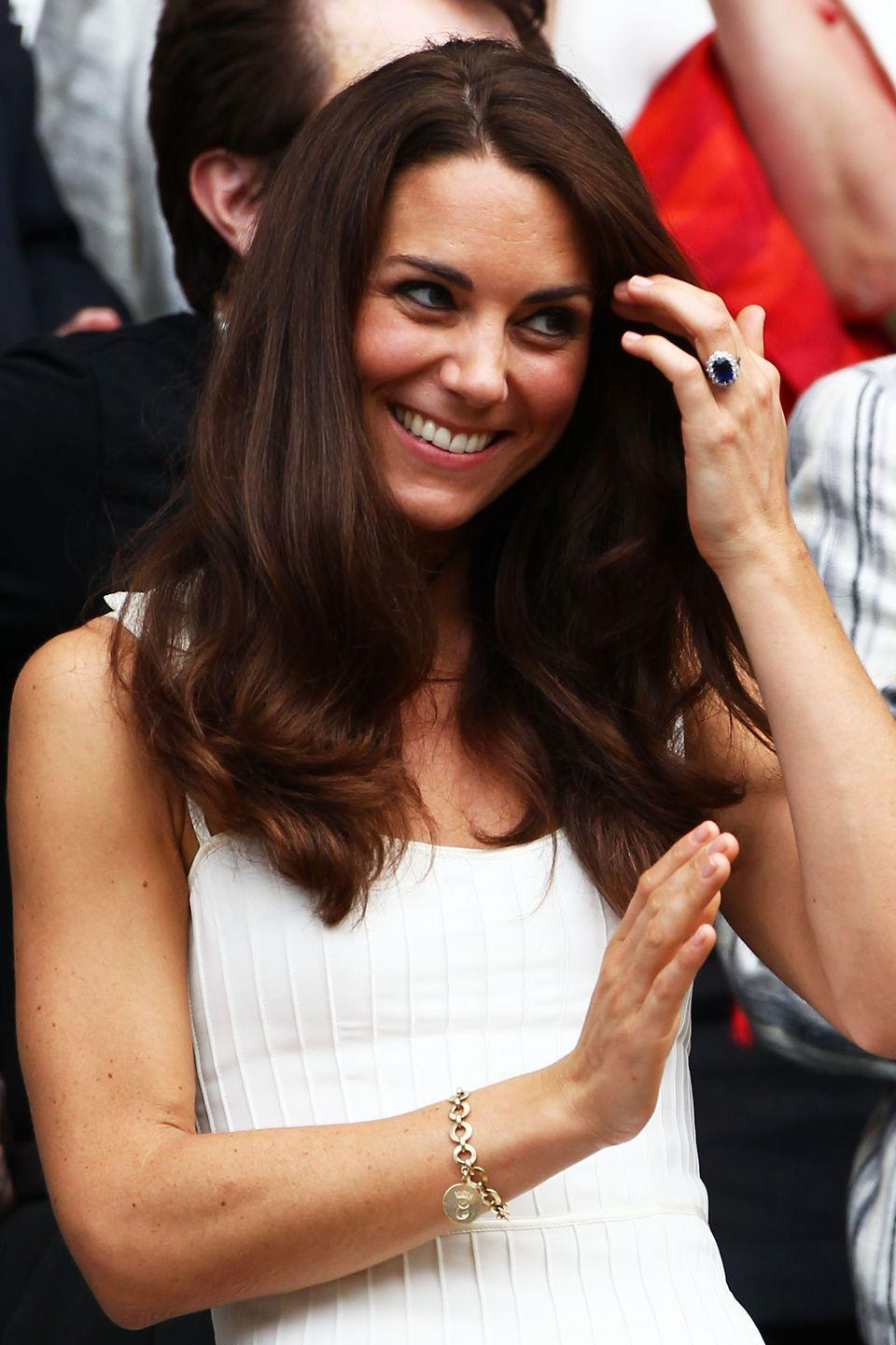 """<p>Catherine, Duchess of Cambridge received this special gold charm bracelet from Camilla, Duchess of Cornwall as a wedding preset. The round charm is emblazoned with a """"C"""" on both sides. Kate wore the piece to a Wimbledon match in 2011.<br></p>"""