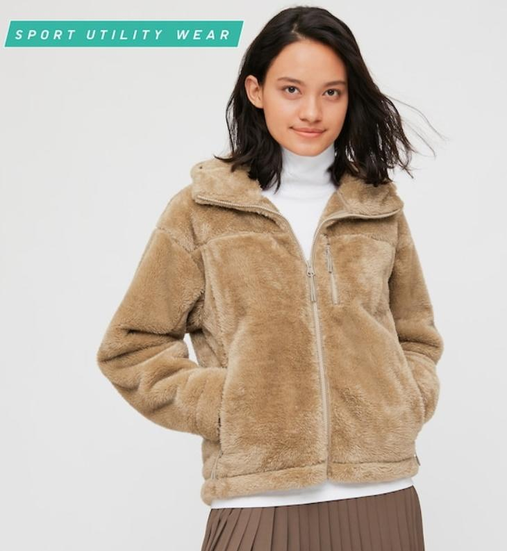 Uniqlo Women Windproof Fluffy Yarn Fleece Hoodie. Image via Uniqlo