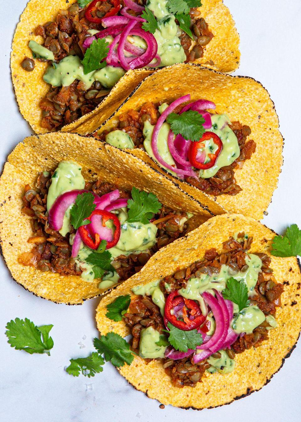 "<p>These are incredible.</p><p>Get the recipe from <a href=""https://www.delish.com/cooking/recipe-ideas/a32293305/vegan-tacos-recipe/"" rel=""nofollow noopener"" target=""_blank"" data-ylk=""slk:Delish"" class=""link rapid-noclick-resp"">Delish</a>.</p>"