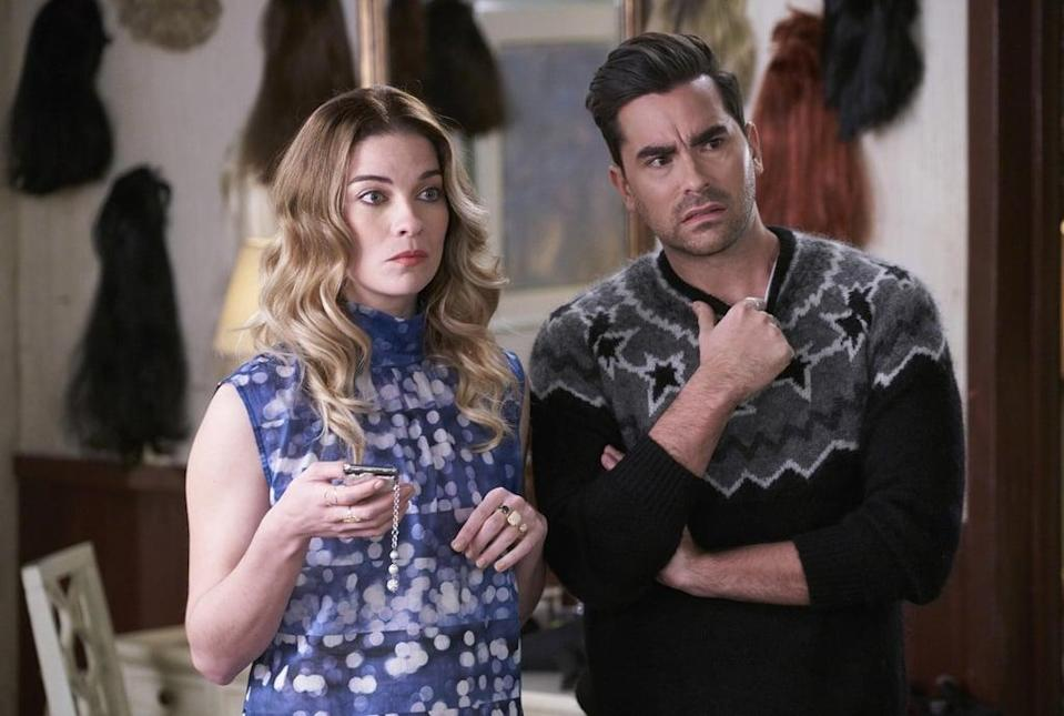 """<p>Are Johnny and Moira attentive parents? No. Did they raise their children to be productive and passionate individuals? Absolutely not. But <a href=""""https://www.popsugar.com/entertainment/Funny-Schitt-Creek-GIFs-46017883"""" class=""""link rapid-noclick-resp"""" rel=""""nofollow noopener"""" target=""""_blank"""" data-ylk=""""slk:this Canadian TV series"""">this Canadian TV series</a> (which tells the story of the Roses, who lose everything and end up in a small town that Johnny once purchased as a joke) is sure to give you major <strong>Workin' Moms</strong> vibes, despite the poor work ethic and even worse parenting displayed by the Rose family. </p> <p><a href=""""http://www.netflix.com/title/80036165"""" class=""""link rapid-noclick-resp"""" rel=""""nofollow noopener"""" target=""""_blank"""" data-ylk=""""slk:Watch Schitt's Creek on Netflix"""">Watch <strong>Schitt's Creek </strong>on Netflix</a>.</p>"""