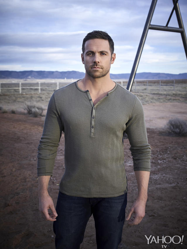 <p>Bobo (Dylan Bruce, <i>Orphan Black</i>) is Manfred's landlord and also runs the main street pawnshop, which is a very problematic place for the psychic to find himself given all the old meaningful trinkets that wind up there. The henley-wearing hunk believes his fiancé Aubrey has left him in the aftermath of a big fight. When she turns up during a town picnic, shot and left for dead in a river and surrounded by signs of possible devil worship, he becomes the prime suspect. Especially after its revealed that she was already married to a member of the white supremacist Sons Of Lucifer gang and might have had ulterior motives for getting close to Bobo.<br>(Photo: Virginia Sherwood/NBC) </p>