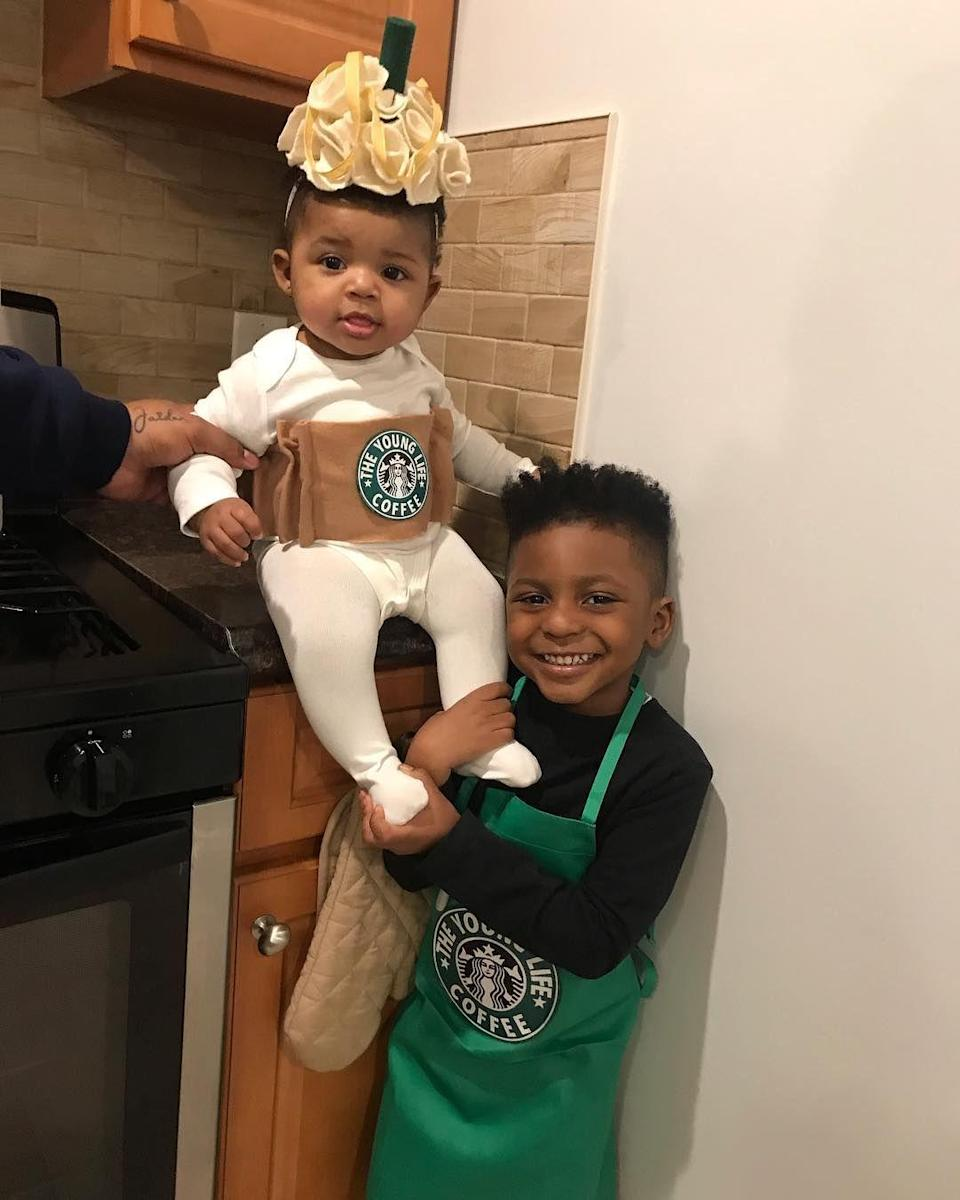"""<p>In our opinion, a frappucino outfit is one of the cutest <a href=""""http://www.goodhousekeeping.com/holidays/halloween-ideas/g4570/best-baby-halloween-costumes/"""" rel=""""nofollow noopener"""" target=""""_blank"""" data-ylk=""""slk:baby Halloween costumes"""" class=""""link rapid-noclick-resp"""">baby Halloween costumes</a> of all time. A sibling in a barista apron completes this adorable duo. </p><p><em><a href=""""https://www.instagram.com/p/BpVdM_vDIcQ/"""" rel=""""nofollow noopener"""" target=""""_blank"""" data-ylk=""""slk:See more on Instagram »"""" class=""""link rapid-noclick-resp"""">See more on Instagram <em><em><em><em><em>»</em></em></em></em></em></a></em></p>"""