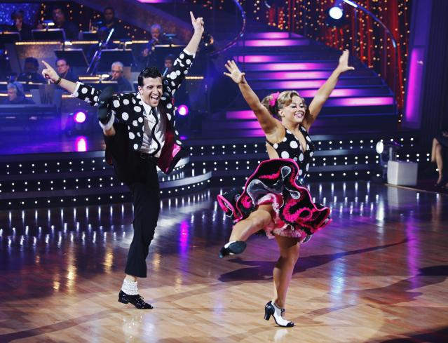 "Mark Ballas and Shawn Johnson perform during the semi-finals of ""Dancing with the Stars,"" May, 11, 2009, in Los Angeles."
