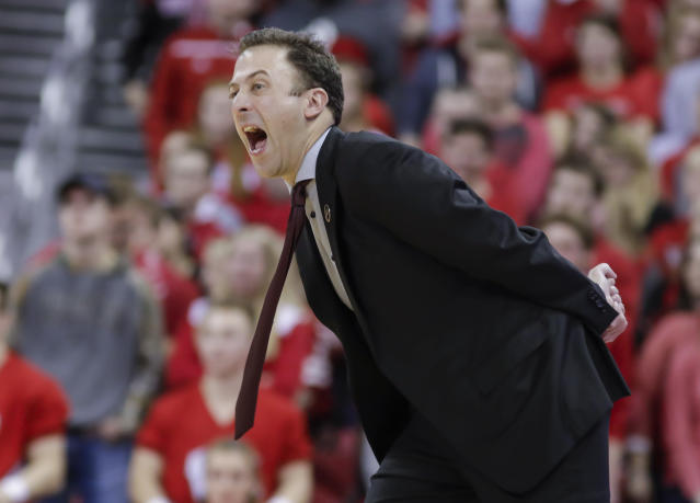 Minnesota coach Richard Pitino yells to his team during the second half of an NCAA college basketball game against Wisconsin on Thursday, Jan. 3, 2019, in Madison, Wis. Minnesota won 59-52. (AP Photo/Andy Manis)